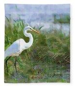 Marsh Egret Fleece Blanket