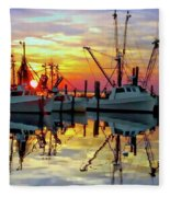 Marshallberg Harbor Sunset Fleece Blanket
