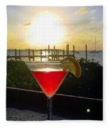 Martini At Sunset II Fleece Blanket