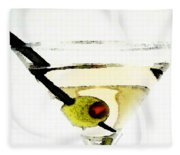 Martini With Green Olive Fleece Blanket