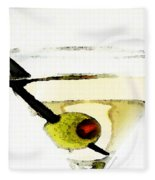 Martini With Green Olive Fleece Blanket