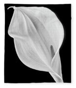 Marvelous Calla Lily In Black And White Fleece Blanket