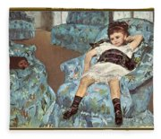 Mary Cassatt-little Girl In A Blue Armchair1878 Po Amp 059 Mary Cassatt Fleece Blanket