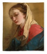 Mary Magdalene In Three-quarter View Veiled In A White Cloth Fleece Blanket