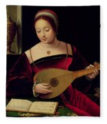 Mary Magdalene Playing The Lute Fleece Blanket