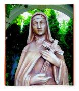 Mary With Cross Fleece Blanket