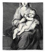 Mary With The Child Jesus Fleece Blanket