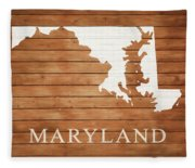Maryland Rustic Map On Wood Fleece Blanket