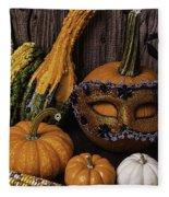 Masked Pumpkin Fleece Blanket