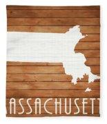 Massachusetts Rustic Map On Wood Fleece Blanket