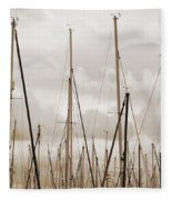 Masts In Sepia Fleece Blanket