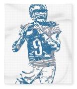Matthew Stafford Detroit Lions Pixel Art 5 Fleece Blanket