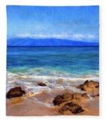 Maui Beach And View Of Lanai Fleece Blanket