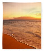 Maui, Hazy Orange Sunset Fleece Blanket