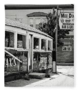 Max's Diner New Jersey Black And White Fleece Blanket