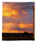 May Day Silo Sunset Fleece Blanket
