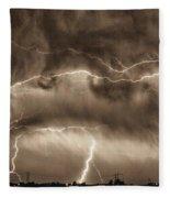 May Showers - Lightning Thunderstorm Sepia Hdr Fleece Blanket