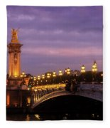 Bridge Of Alexandre IIi At Night Fleece Blanket