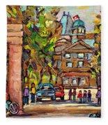 Mcgill Gates  Entrance Of Mcgill University Montreal Quebec Original Oil Painting Carole Spandau Fleece Blanket