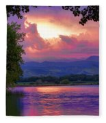 Mcintosh Lake Sunset Fleece Blanket