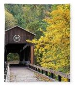 Mckee Bridge In Fall Fleece Blanket