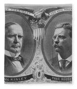 Mckinley And Roosevelt Election Poster Fleece Blanket