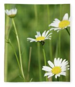 Meadow Detail White Wild Flowers Fleece Blanket