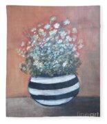 Meadow Flowers In Striped Vase  Fleece Blanket