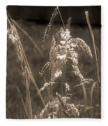 Meadow Grass In Sepia Fleece Blanket
