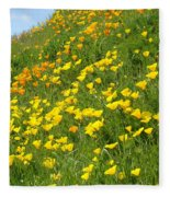 Meadow Hillside Poppy Flowers 8 Poppies Artwork Gifts Fleece Blanket