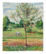 Meadow With Grey Horse, Eragny Fleece Blanket