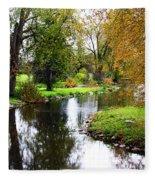 Meandering Creek In Autumn Fleece Blanket