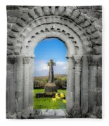 Medieval Arch And High Cross, County Clare, Ireland Fleece Blanket