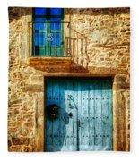 Medieval Spanish Gate And Balcony - Vintage Version Fleece Blanket