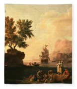 Mediterranean Harbor Scene Fleece Blanket