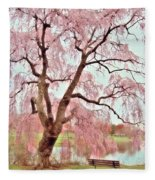 Meet Me Under The Pink Blooms Beside The Pond - Holmdel Park Fleece Blanket
