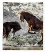 Meeting On The River  Fleece Blanket