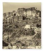 Mehrangarh Fort Sepia Fleece Blanket