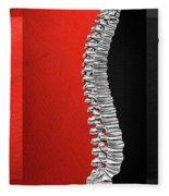 Memento Mori - Silver Human Backbone Over Red And Black Canvas Fleece Blanket