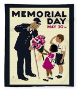 Memorial Day Poster Wpa Fleece Blanket