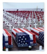 Memorial Day Remembrance At The Beach Fleece Blanket