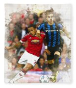 Memphis Depay Of Manchester United In Action Fleece Blanket