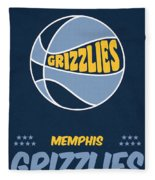 Memphis Grizzlies Vintage Basketball Art Fleece Blanket