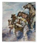 Men And Horses Battling A Storm Fleece Blanket