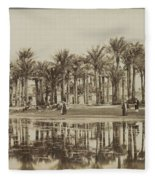 Men With Goats Under Palm Trees On The Water In Bedrechen, Bonfils, C. 1895 - In Or Before 1905 Fleece Blanket