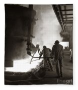 Men Working Blast Furnace At Steel Fleece Blanket