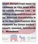 Mencken Quote 7 Fleece Blanket