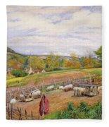 Mending The Sheep Pen Fleece Blanket