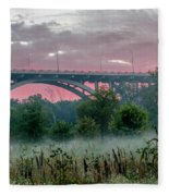 Mendota Bridge Sunrise Fleece Blanket