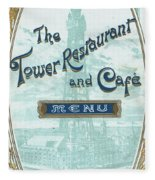 Menu For Lunch At Blackpool Tower Restaurant Fleece Blanket